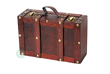 Vintiquewise Old-Fashioned Suitcase with Straps, Antique Cherry ...