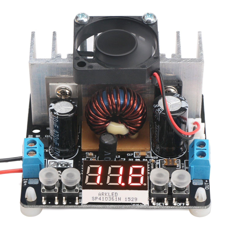 DROK® DC 12V 24V Régulateur de tension 8A Numerical Control Buck Converter avec Dissipateur Fan 6-40V à 0-38V réglable avec voltmètre numérique Afficher Volt Constant Stable Alimentation bricolage DEOK 180049_FR
