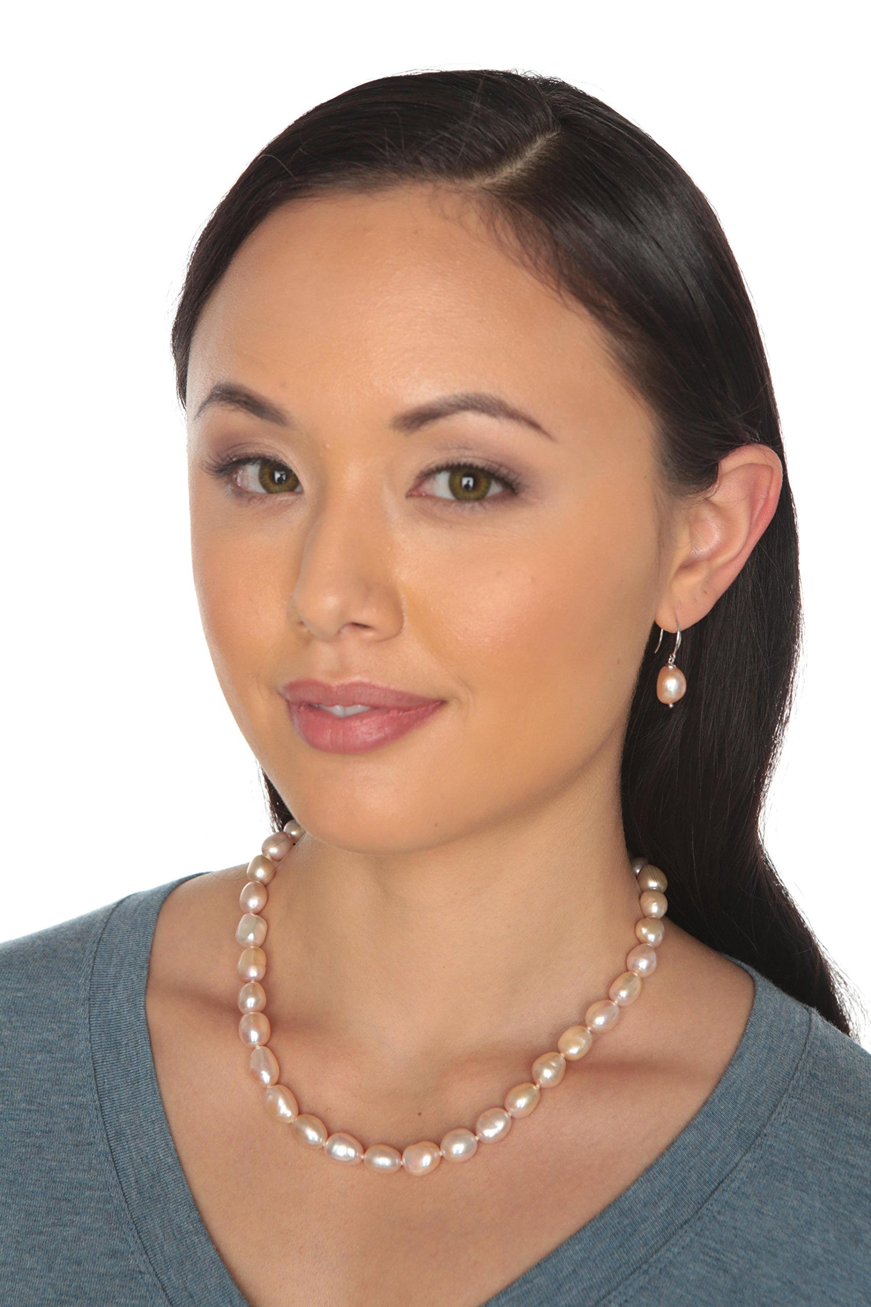 HinsonGayle AAA Handpicked 10-11mm Pink Baroque Freshwater Cultured Pearl Necklace (Silver )-18 in length by HinsonGayle Fine Pearl Jewelry (Image #4)