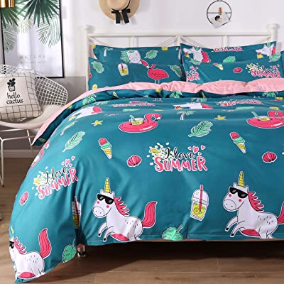 Colorxy Floral Lightweight Duvet Cover 3 Piece Set - Ultra Soft Microfiber Reversible Unicorn Printed Comforter Cover with Zipper Closure, Corner Ties and 2 Pillow Sham, Full/Queen (90x90 inches): Home & Kitchen
