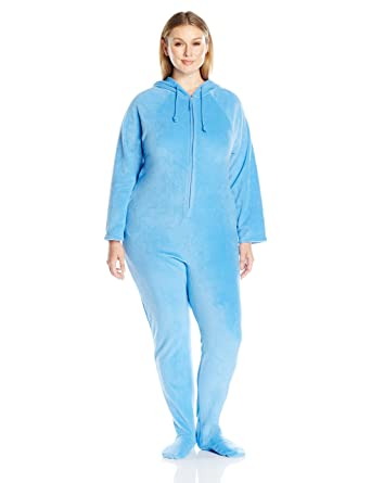 Amazon.com  Casual Moments Women s Plus-Size One-Piece Hooded Pajama ... d2ab9518f