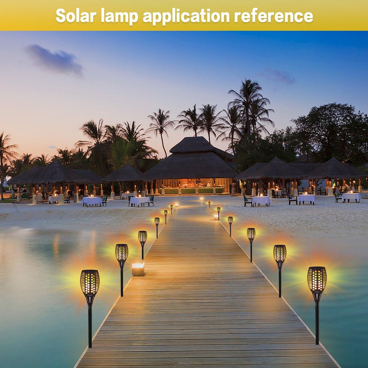 Lightess Solar Garten Flammen Fackeln 4er Solarleuchten Flammeneffekt Aussen Solar Licht Flamme Beleuchtung 96 Led Flickering Fackeln Spotlight