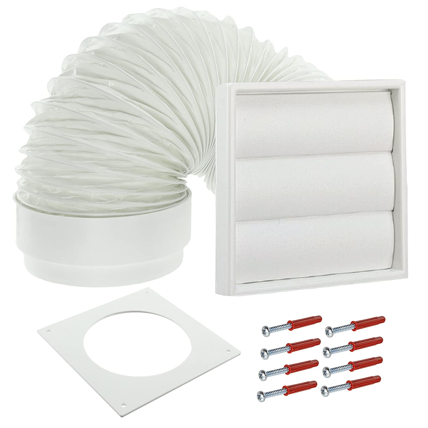 "Venting Kit For Miele Tumble Dryer Vent External Wall Outlet 4/"" 100mm White"