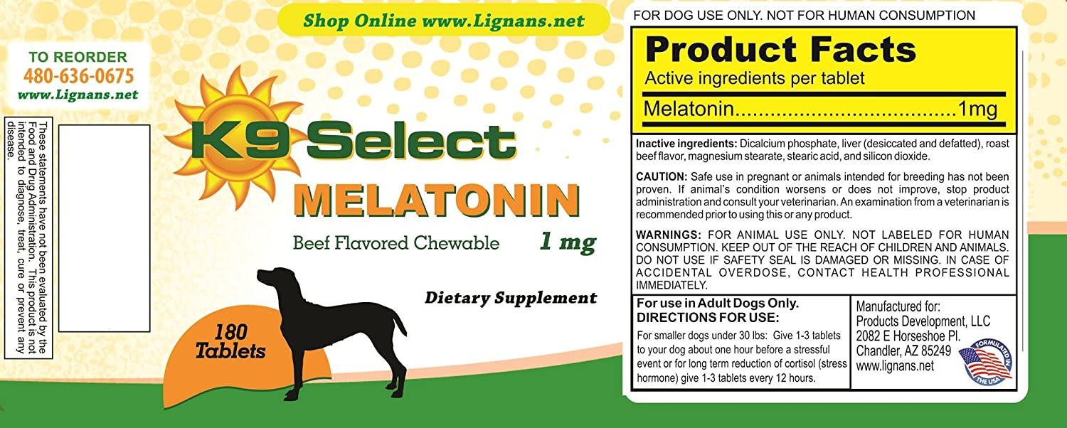 Amazon.com : K9 Select Melatonin for Dogs 1 mg Chewable Beef Flavor 180 Tabs : Pet Supplies