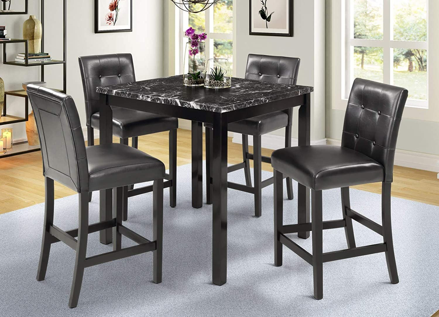 5 Piece Counter Height Dining Set Kitchen Table Furniture Set with 4 Chairs Dining Room Table and Bar Stools (Black High Back)
