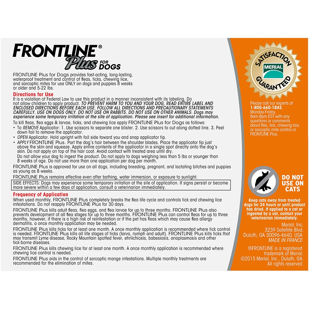 Frontline Plus for Dogs Small Dog (5-22 pounds) Flea and Tick Treatment, 3 Doses by Frontline (Image #3)