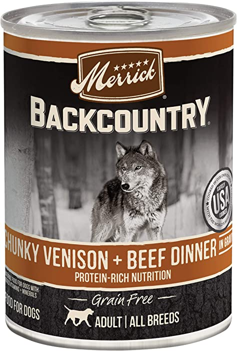 Merrick Backcountry Grain Free Wet Dog Food Chunky Venison & Beef Dinner in Gravy - 12.7 oz Can