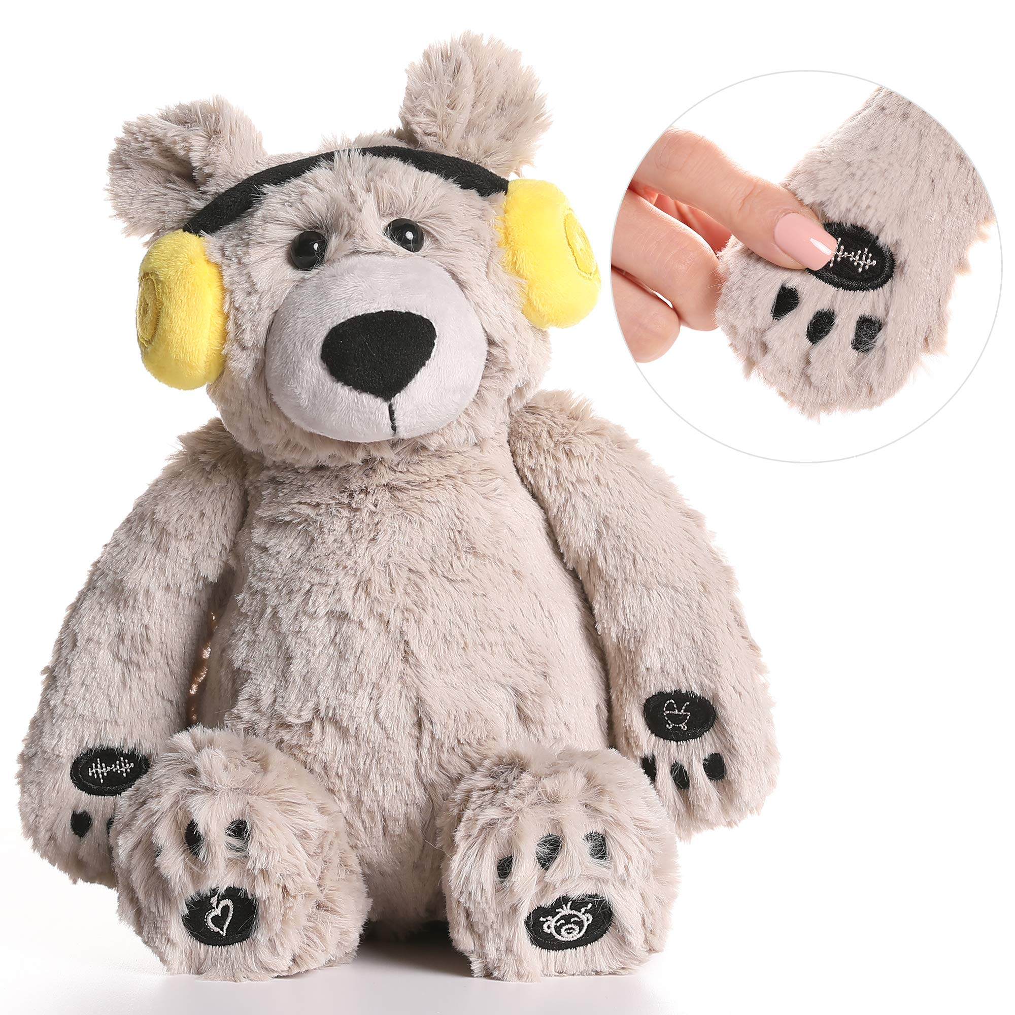 Lulla Bear Shusher by Alex & Kate - White Noise, Lullabies, and Mom's Heartbeat Sounds - Nursery Décor & Portable Stuffed Animal Bear with Baby Sleep Soothing Sounds for Toddler Crib to Comfort