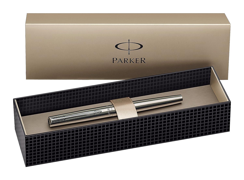 Parker S0161590 - Penna stilografica Jotter a cartucce, in acciaio INOX, spessore linea M, colore inchiostro: Blu Newell Rubbermaid
