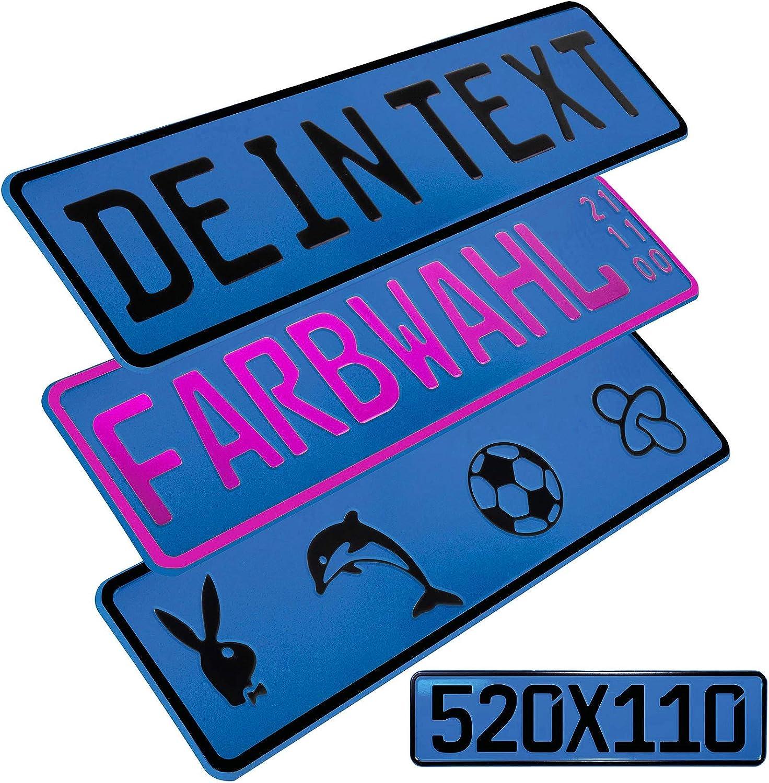 L P Car Design Fkz 1 Stück Fun Kennzeichen 52cm X 11cm Wunschtext Bohrung Beschichtungsfarbe Individuell Wunschkennzeichen Wunschprägung Namenskennzeichen Namensschild Farbe Blau Auto