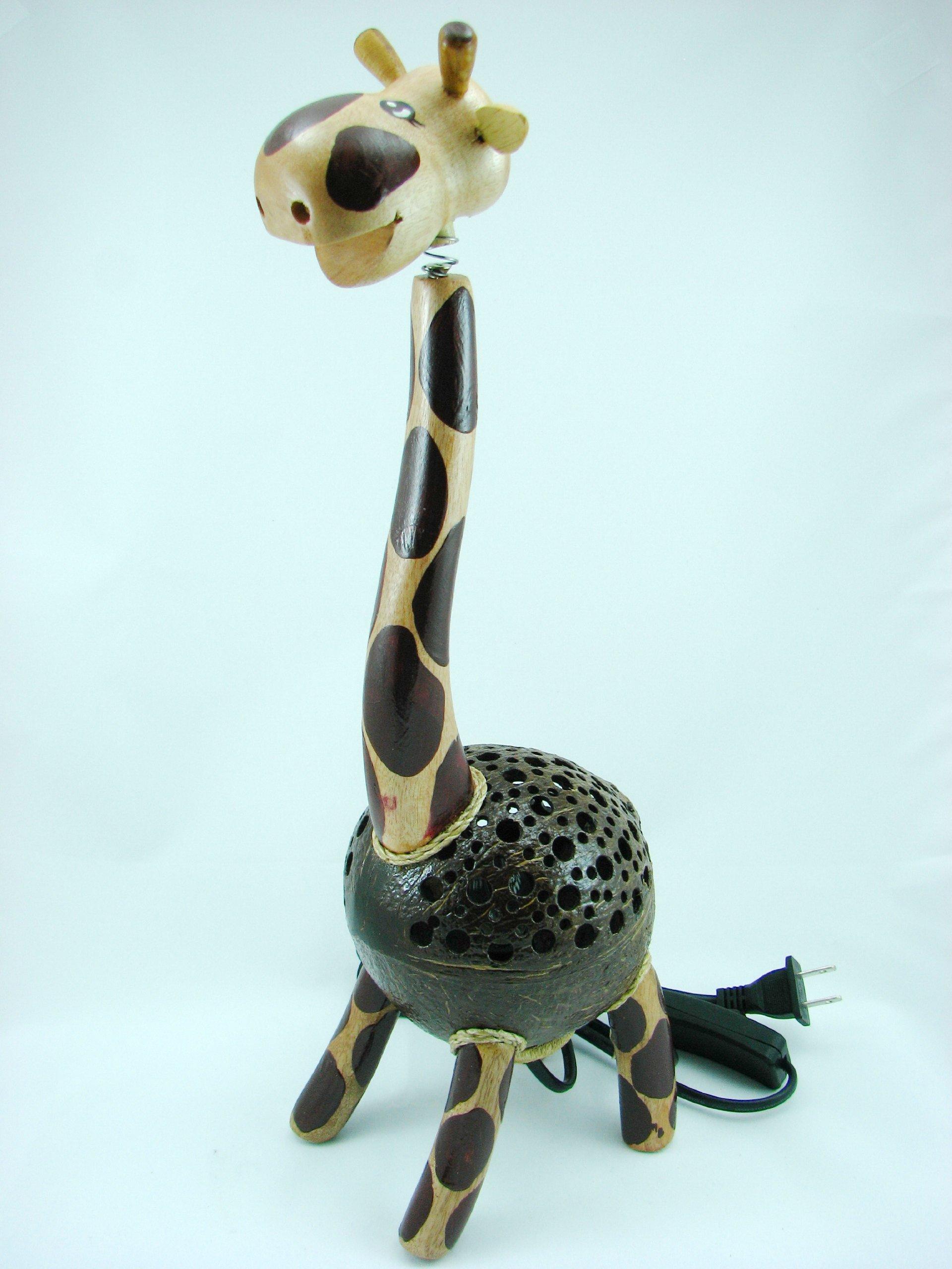 Coconut Shell Lamp - Giraffe Lamp 12'' Height - Wooden Crafts Handmade of Thailand Craftsman