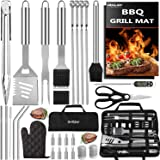 grilljoy 31PC Heavy Duty BBQ Grilling Accessories Grill Tools Set - Stainless Steel Grilling Kit with Storage Bag for Camping