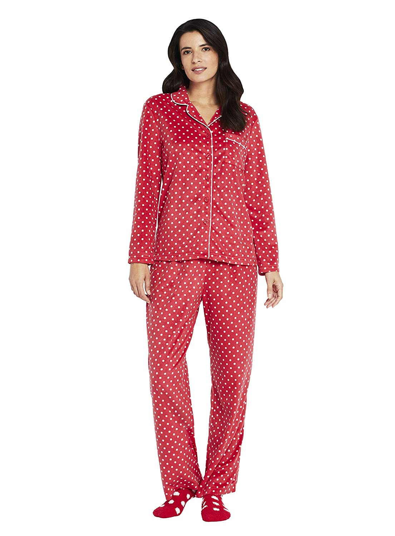 Karen Neuburger Womens Long Sleeve Minky Fleece Pajama Set Pj RZ0029M-BUF