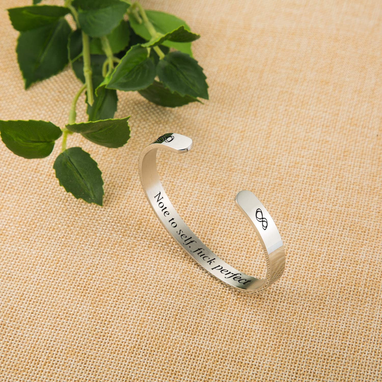 Ldurian Inspirational Bangle Bracelets Gifts for Women Personalized Mantra Cuff Bangle Daily Reminder with Gift Box