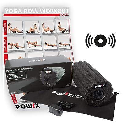 Rouleau de massage en mousse vibrant POWRXROLL - Idéal pour l'automassage, les étirements, la relaxation et les douleurs musculaires - Convient très bien pour le Pilates, le Yoga, la Gymnastique, le Fitne
