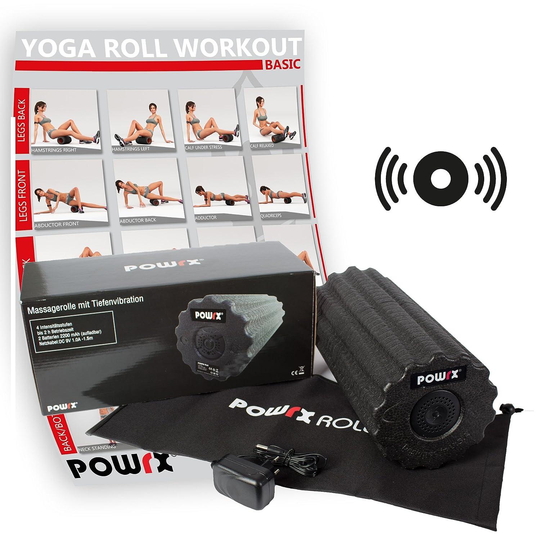 POWRX-Roll inkl. Tragetasche und Workout I Faszienrolle mit Tiefenvibration I Massagerolle I Vibrationsrolle mit 4 Vibrationsstufen Gratis PDF Übungsposter