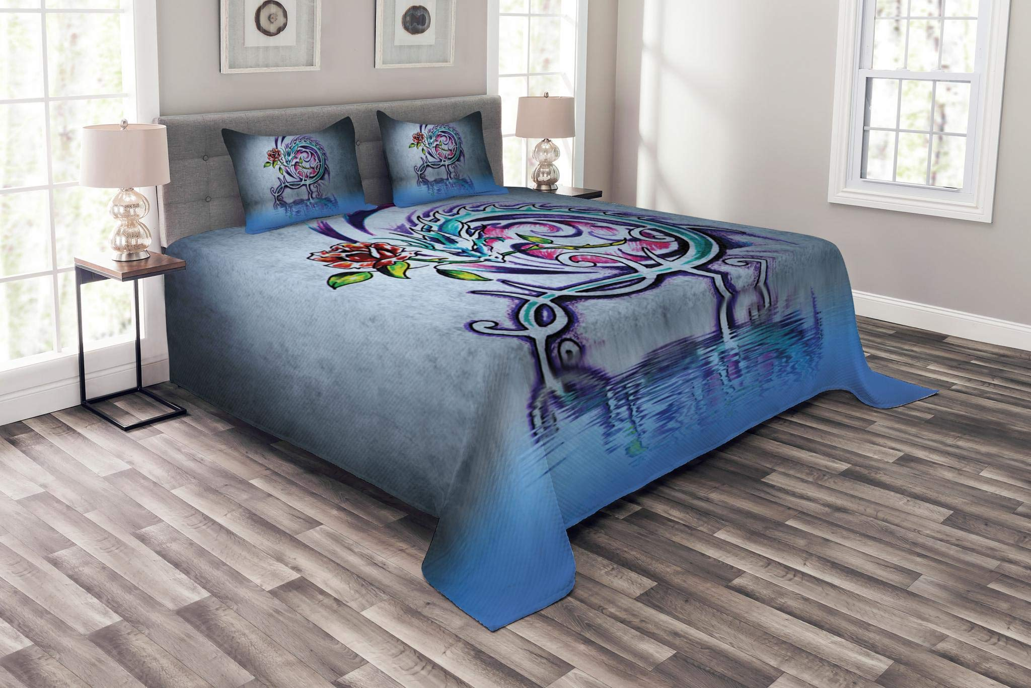 Lunarable Dragon Bedspread Set Queen Size, Flower and Swirling Twiggy Dragon Figure on Wall Graffiti Inspired Art Red Rose and Water, Decorative Quilted 3 Piece Coverlet Set with 2 Pillow Shams, Multi