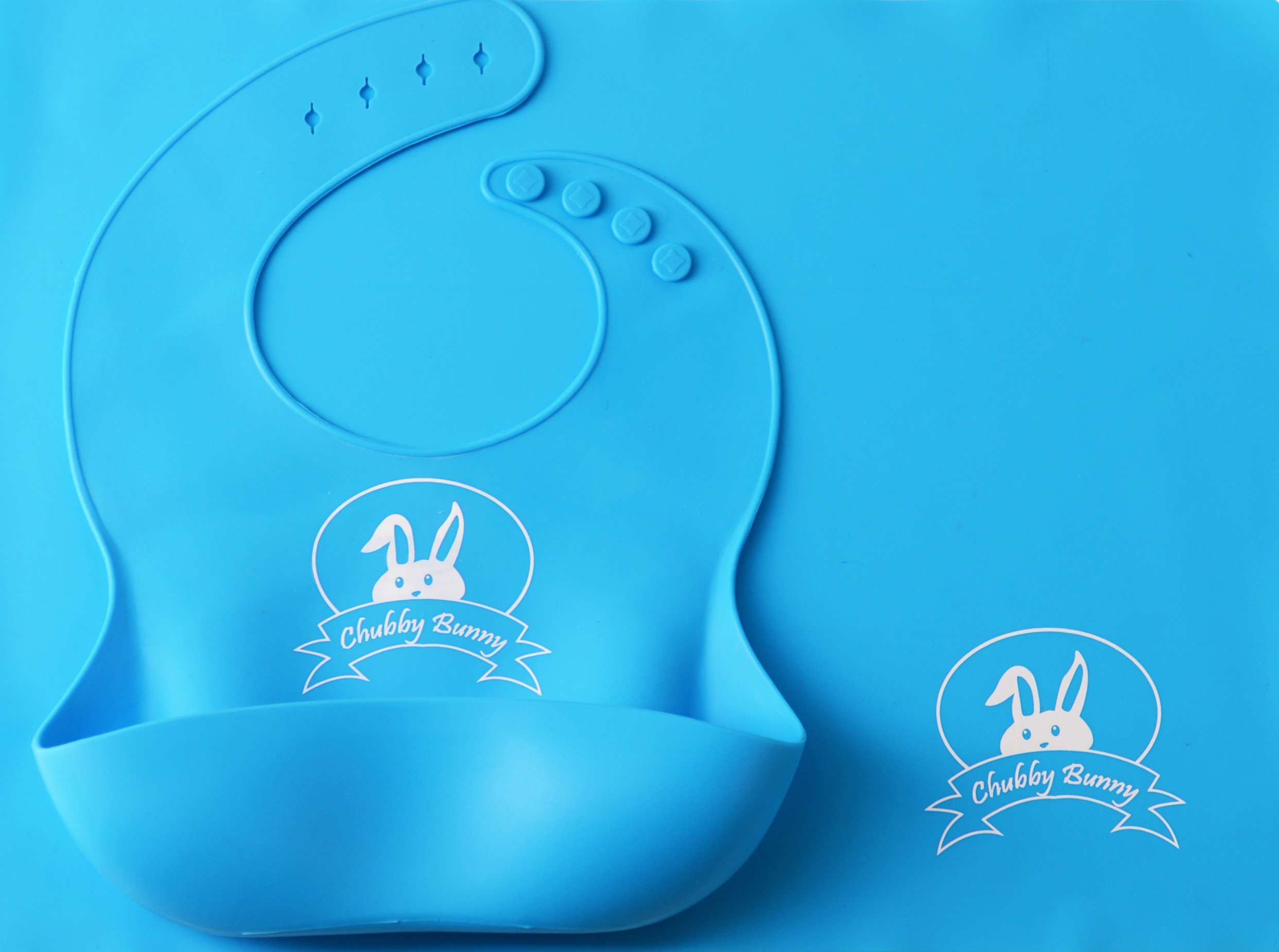 Premium Silicone Bib and Placemat with Pocket Set for Baby & Kids - Food Grade Silicone, Reusable, Dishwasher Safe (Blue)