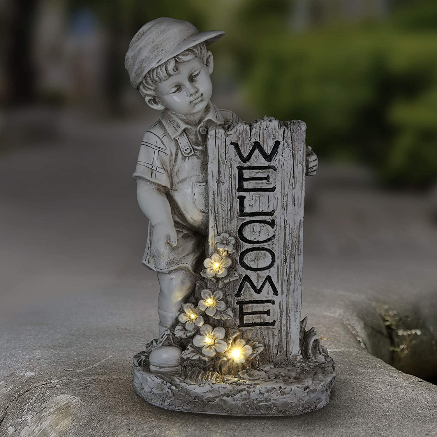 Exhart Solar Boy w/Welcome Sign Garden Statue for Outdoor Decor | Solar Powered LED Light Flowers Statue for Garden, Lawn or Yard -Made of Natural Resin Finish Art Boy Statuary