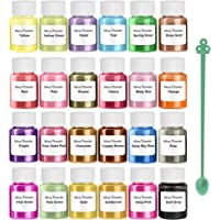 (24 Colors Mica Powder) - HEMOER Mica Powder 24 Colour-Epoxy Resin Pigment with Pearl for Bath Bombs Soap Colourant…