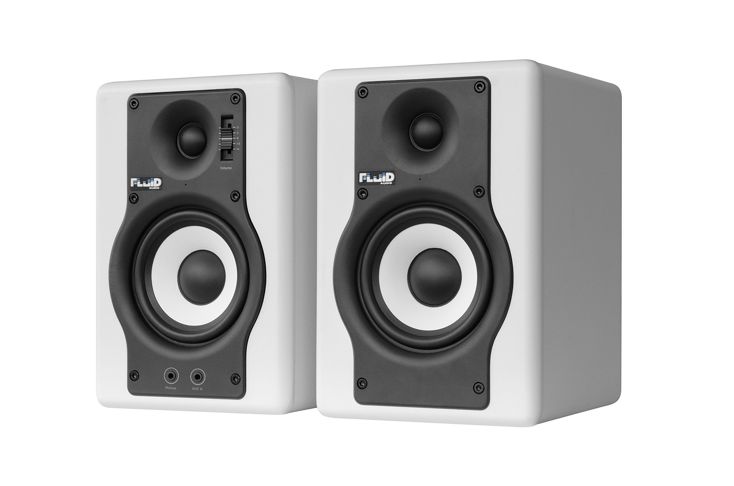 Fluid Audio F4 (Pair) - 4'' Active Studio Reference Monitors, White