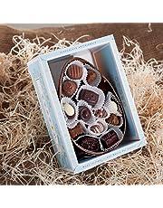 Oeuf de Pâques au chocolat aux amandes et noisettes avec pralines, mini-œufs et shots | Boite cadeau | 400 gr.