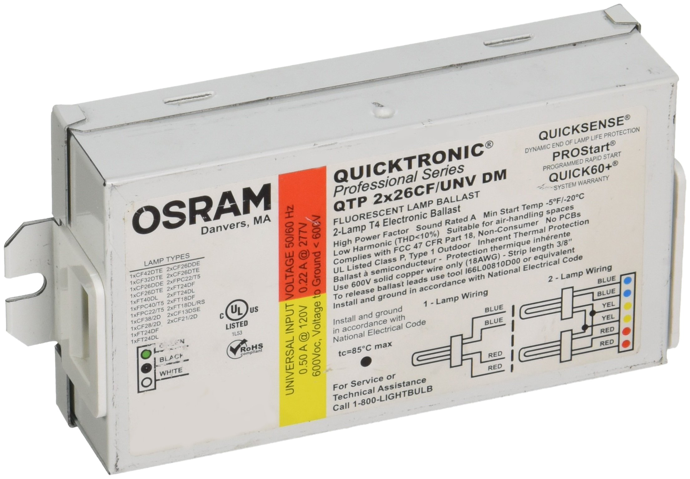 OSRAM SYLVANIA Sylvania Compact Fluorescent Ballast with Bottom Or Side Leads Qtp/2X26/Cf/Unv-645613