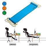 Amazy Fuß Hängematte für extra breite Tische bis 2,00 m – Praktische Fußstütze zur Entspannung und Entlastung im Büro (Blau)