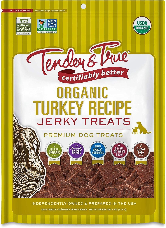 Tender & True Organic Turkey Jerky Treat, 4 oz bag
