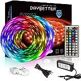 DAYBETTER Led Strip Lights 32.8ft 5050 RGB LEDs Color Changing Lights Strip for Bedroom, Desk, Home Decoration, with Remote a