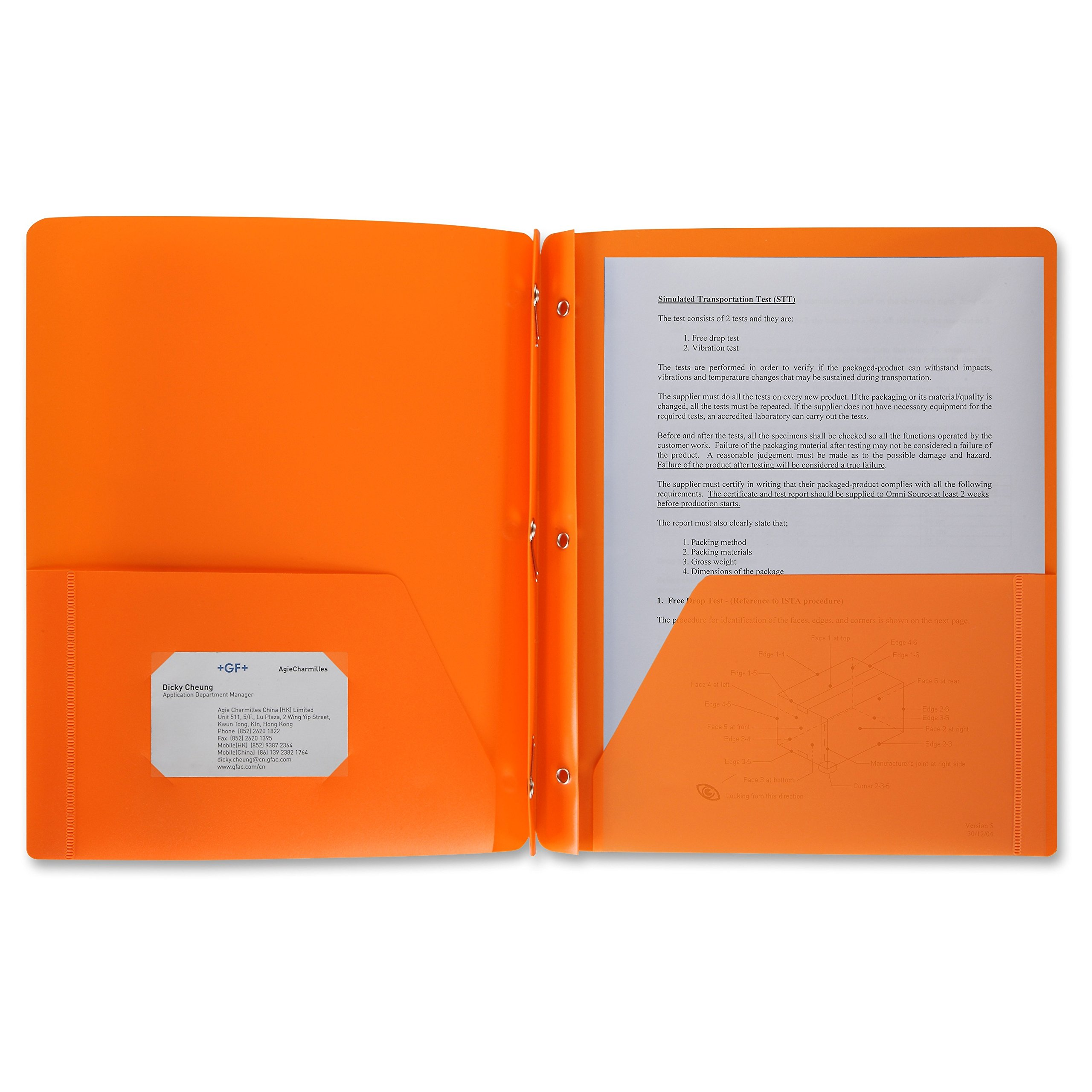 24 Pack Poly Plastic Portfolio School Folder Report Covers, 3 Hole Punched with Prongs, 8.5 x 11, Solid Colors, Durable, Spill Resistant/Water Resistant (Orange)