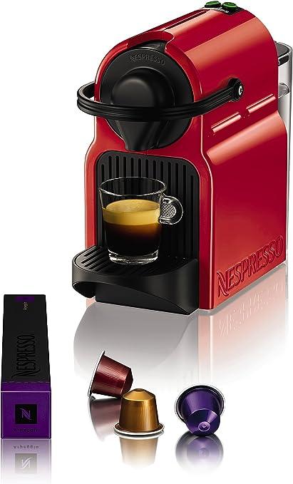 Nespresso Krups Inissia XN1005 - Cafetera monodosis de cápsulas Nespresso, 19 bares, apagado automático, color rojo ...