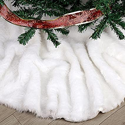 faux fur christmas tree skirt 36 inches elegant pure white xmas holiday tree skirts for christmas - White Christmas Tree Decorations