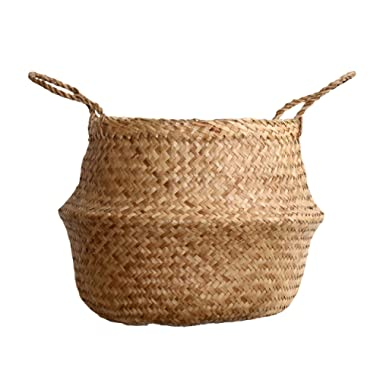 DUFMOD Medium Natural Woven Seagrass Tote Belly Basket for Storage, Laundry, Picnic, Plant Pot Cover, and Beach Bag (Zigzag Chevron Natural Seagrass, Medium)