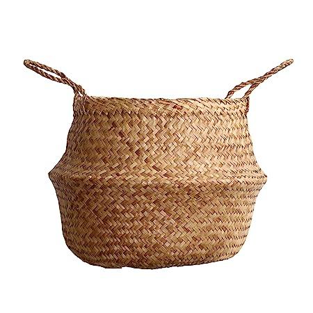 DUFMOD - Cesta de junco de mar multiusos a elegir en tamaño grande, mediano y pequeño. Disponible en diferentes colores como aguamarina, blanco, ...