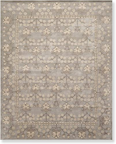 8' x 10' William Morris Handmade 100 Wool Oriental Area Rug 8x10 Gray