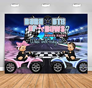Sensfun Wheeler Burnouts or Bows Gender Reveal Backdrop Boy or Girl Pink or Blue Race Car Baby Shower Party Decorations Banner 7x5ft Motorcycle Photography Background for Gender Reveal Party Supplies
