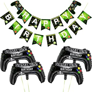 5 Pieces Video Game Party Supplies Include Game on Balloons Video Game Controller Aluminum Foil Balloon and Happy Birthday Gaming Banner for Birthday and Game Party Decorations