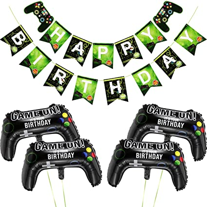 45 Piece Video Game Party Supplies HAPPY BIRTHDAY Gaming Banner controller balloons video gamer and Boys Birthday Party Aluminum Foil Balloon Latex Balloon Decoration
