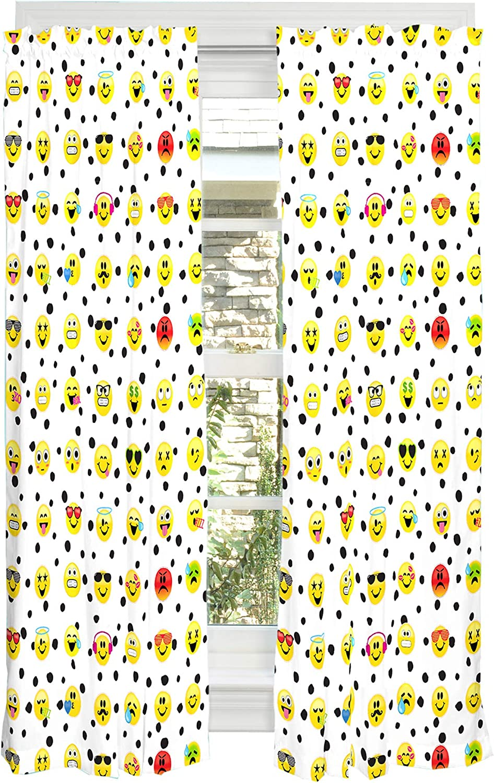 "Franco Kids Window Curtain Panels Drapes Set, 82"" x 63"", Emojination"