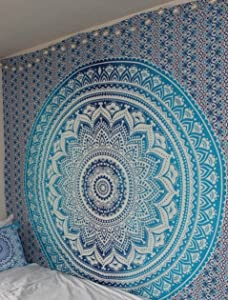Jaipur Handloom Blue Ombre Tapestry Hippie Mandala Bohemian Psychedelic Tapestry Wall hangings Wall Art Ethnic Dorm Decor Indian Bedspread Magical Thinking Tapestry Beach Blanket Picnic