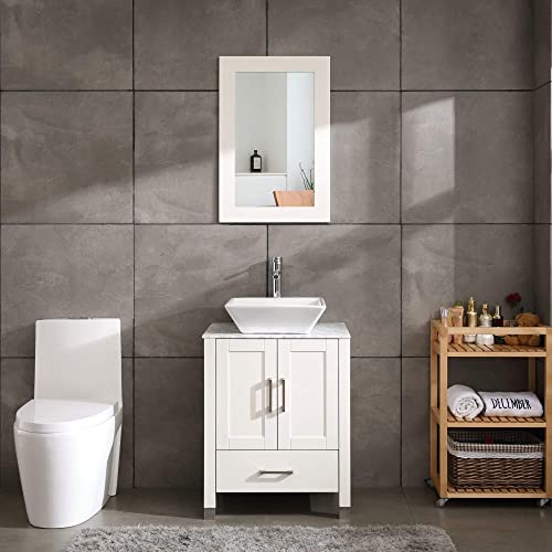 24″ White Bathroom Vanity Cabinet and Sink Combo Modern Wood w/Mirror Tempered Glass/Marble Counter Top Solid Wood Marble Top