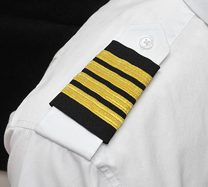 794e738145f Image Unavailable. Image not available for. Color  Captain Epaulets - 4 Bar  - Black with Gold Stripes