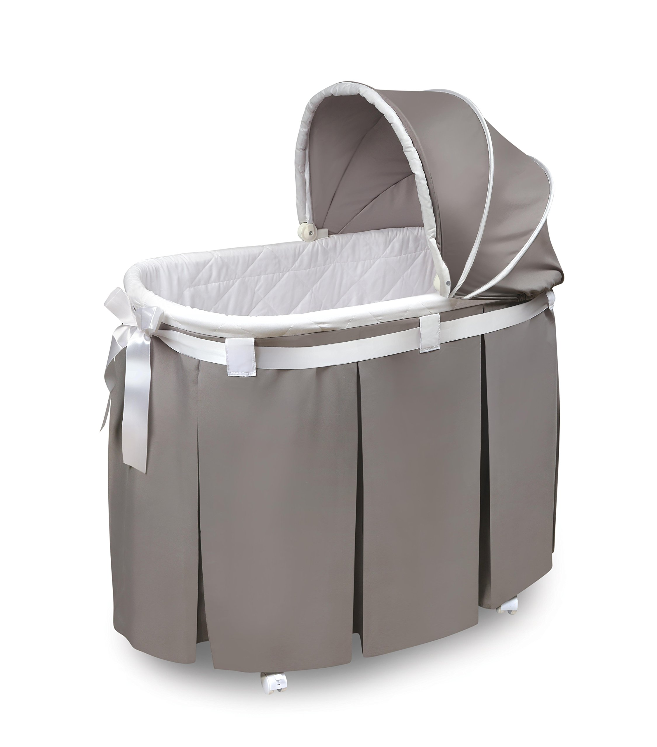 Wishes Oval Rocking Baby Bassinet with Bedding, Storage, and Pad by Badger Basket
