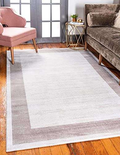 Unique Loom Uptown Collection by Jill Zarin Collection Textured Modern Border Beige Area Rug 9 0 x 12 0