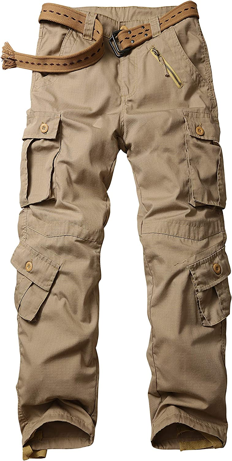 Men Loose Drawstring Cargo Trousers Work Pants Pocket Casual Army Outdoor Cotton