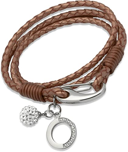 Unique & Co Ladies 19cm Natural Leather Bracelet with Steel Shrimp Clasp, Crystal Ball and Crystal Heart Charm