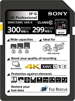 Sony SF-G128/T1 High Performance 128GB SDXC Uhs-II Class 10 U3 Memory Card with Blazing Fast Read Speed Up to 300MB/S