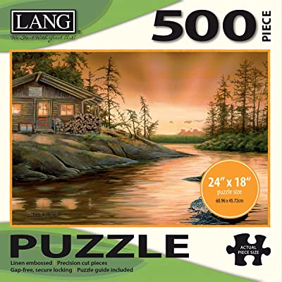 "LANG - 500 Piece Puzzle -""Cabin on the Narrows"", Artwork by Larry Beckstein - Linen Finish - 24"" x 18"" Completed: Arts, Crafts & Sewing"