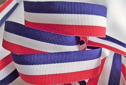 "5 yards 7//8/"" Red White Navy Woven Grosgrain Ribbon"